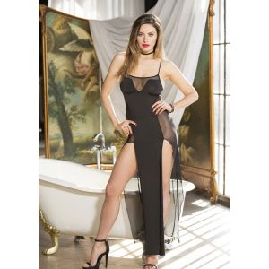 H.O.T. SOLID AND SHEER STRETCH KNIT LONG DRESS 90385