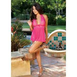 H.O.T. STRETCH MESH AND LACE BABYDOLL 96164