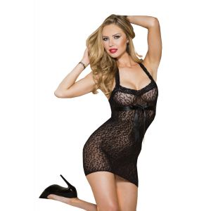 H.O.T. STRETCH LEOPARD PATTERNED STRETCH LACE CHEMISE 90387